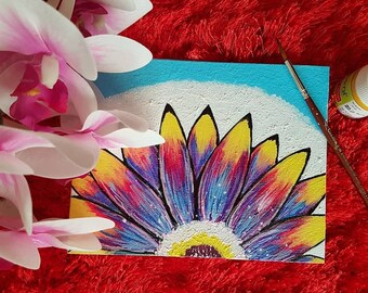 A miniature original acrylic painting 'Pretty Daisy' to adore your space.