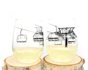 Wine Glasses - Ski Lift - Stemless Wine Glasses - Set of Two Wine Glasses 17oz.