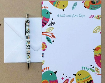 Personalised Colourful Birds Notepaper/Writing Set