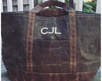 Monogrammed Waxed Canvas Bag- Monogrammed Tote- Monogrammed Weekender