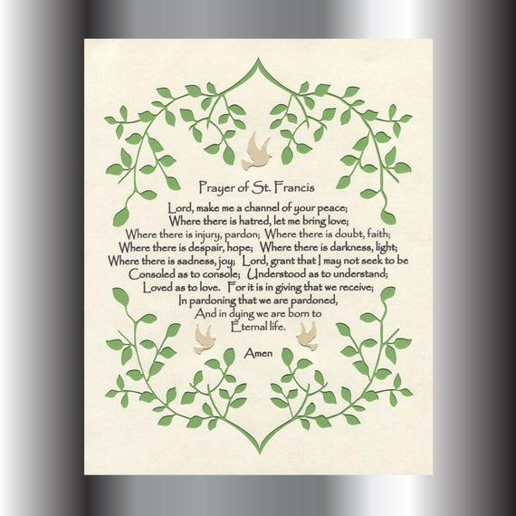 & Prayer of St. Francis Inspirational Wall Art Paper Cut Vine