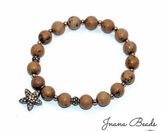Beach ~ Tiger Skin Jasper bracelet, gemstone bracelet, starfish charm, karen hill tribe silver charm and beads, beach bracelet, woman, yoga