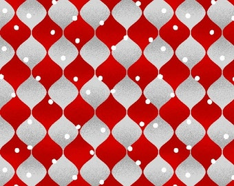 Christmas Fabric, Holiday Cheer, red and silver Christmas ornaments,  by Henry Glass