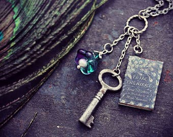 Pride and Prejudice Necklace Book Lover Gift Jewelry Jane Austen Antique Key Necklace Glass Flower Pendant Classic Novel FREE UK SHIPPING