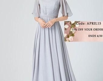 Light gray Bridesmaid dress, long bridesmaid dress, long summer dress, full length dress, V neck dress, wedding dress, prom dress 1910