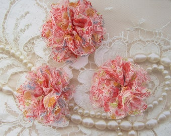 2 Floral Lace Puff Flowers for baby headbands, clips or crafts