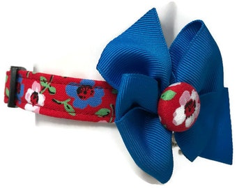 Americana Floral Red White Blue Dog Collar size Extra Small