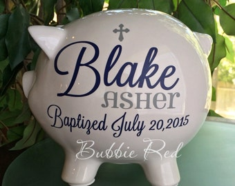 Baptism Gift for Boy or Girl, Christening Gift, Personalized Piggy Bank, Baby Girl/Boy  Christening Gift, Custom Baptism Gift for Baby