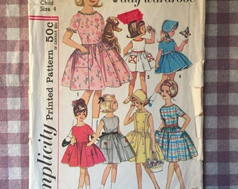 Girl's Vintage Dress Pattern / Girls Dress Pattern / Child Dress Pattern / Vintage Sewing Pattern / Simplicity 4924 / Size 4 / NC / 1960s