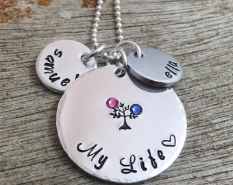 Personalized Name Necklace, Children's Name Pendant, Name Disc Necklace, Tree of Life, Mother's Day Gift