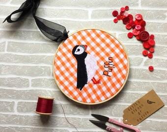 Puffin Design, Embroidery Hoop Art, Handmade Gift, Fabric Wall Hanging, Stitched Art, Wall Decor, LittleStitchOfNature, Coastal Art