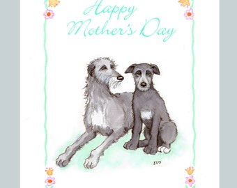 Scottish Deerhound Mother's Day Card