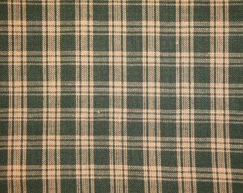 Homespun Fabric   Plaid Fabric   Cotton Fabric   Rag Quilt Fabric   Green Basic Plaid Homespun Fabric
