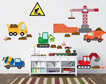 Construction Trucks Wall Decal, Boys Wall Decals, REUSABLE FABRIC Wall Decals, Truck Wall Stickers, A253