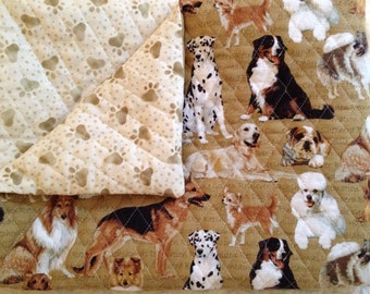 """Decorative Pillow Duvet - 24""""x32"""" - Quilted Dogs & Paws"""