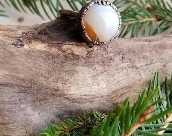 Copper Electroformed Agate Circle Ring Size 5 1/2 | Copper Electroform Agate Ring | White Agate Ring | Gemstone Ring | Circular Ring