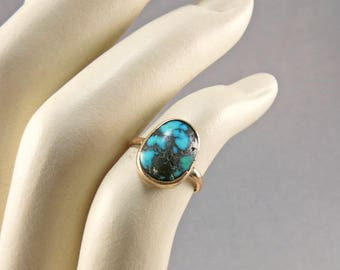 Vintage Turquoise Ring In 9ct Gold Band Real Turquoise Antique Collectibles