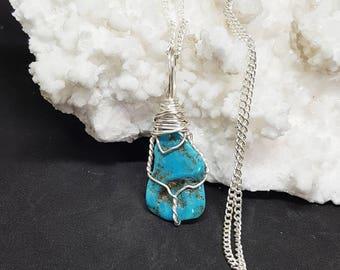 Wire Wrapped TURQUOISE Crystal Necklace OOAK Handmade Jewelry Healing Crystal Jewelry The Stone Fairy Jewelry Wicca Bohemian Jewelry TT116-2