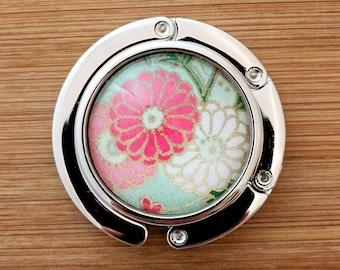 Metal Purse Hanger - Foldable Purse Hook - Yuzen/Chiyogami - Handmade - Pink & White Daisies on Sea Green
