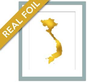 Vietnam Map - Gold Foil Print - Gold Vietnam Print - Gold Foil Map - Geography Travel Poster - Vietnam Art Print - Asia Country Map
