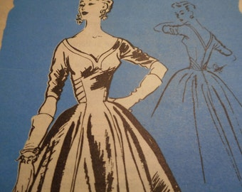 Vintage 1950's Prominent Designer A879 Frank Starr Original by Peg Endersby Dress Sewing Pattern Size 14 Bust 32