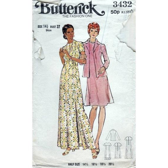 70er Jahre Butterick Abend langes oder kurzes Kleid und Jacke Nähen ...