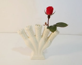 Vintage Five 5 Finger Flower Bud Vase White Leart USA Small Porcelain