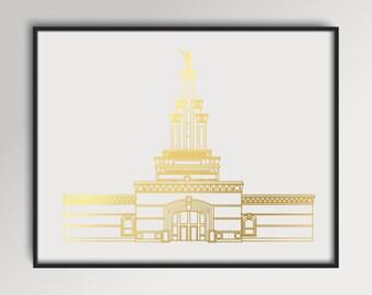 LDS Columbia River Washington Temple Gold Foil Print