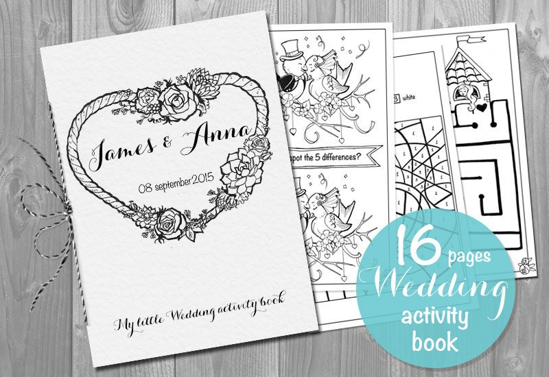 Kids Wedding Activity Book Printable Personalized booklet