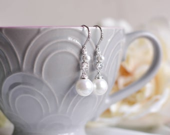 Bridesmaid Earrings | Pearl Dangle Earrings | Long Earrings | Pearl Drop Earrings | Bridal Earrings | Bridal Jewelry | Wedding Jewelry