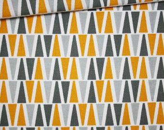 Fabric triangles yellow mustard, grey, 100% cotton printed 50 x 160 cm, pattern yellow triangles