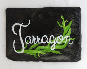 Hanging Tarragon Slate Herb Garden Marker - Stake Included