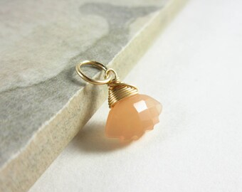 Peach Moonstone Pendant - Moonstone Charms - Carved Gemstone - Moonstone Jewelry - Sterling Silver Charms - Gifts Under 10