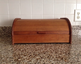 Roll Top Bread Box Winsome Wood GenuineTeak Wood - Vintage Kitchen Storage - Counter Top Decor