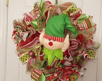 Santa's little helper!  Christmas elf deco mesh wreath