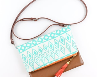 Boho Tassel Clutch in Turquoise and White Tribal Print with Tan Vegan Leather - Crossbody Bag