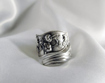 Lily of the Valley Flower Spoon Ring Sterling Art Nouveau Statement Ring Symbolic of Return of Happiness Reunion