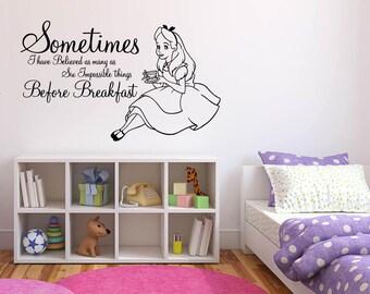 Wall Sticker Decals Alice In Wonderland Cartoon Rabbit Tea Time Cheshire Cat Girl Nursery Bedroom 1350b