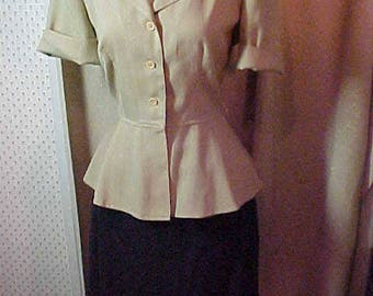 Vintage 1950s Two Piece Black & Beige Summer Suit/ dress   Size 12   #3068                   .