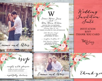 Wedding Invitation Suite, Printable Photo Wedding Invitation, Shabby Floral Wedding Invitation Suite: Invitation, RSVP, And Thank You Card