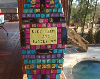 New Rainbow SUP Mosaic ART Keep calm paddle on SURF's Up stand up paddle board