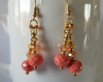 Multi-Faceted Gold & Coral Earrings