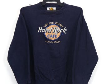 Vintage Planet Hollywood Sweatshirt Big Logo Jumper Pullover Printed Logo Black Sweater Size Small