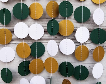 Gold And Green Paper Garland Baby Shower Wedding Emerald Dark Backdrop Birthday Decor