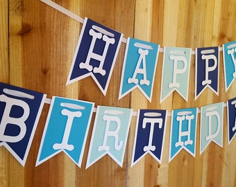 Blue Ombre Happy Birthday Banner, High Chair Banner, One Banner