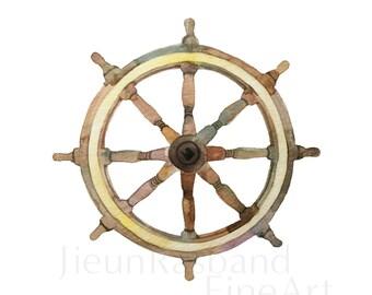 Ship's wheel -Watercolor fine art pront ,children's room decor, nursery art,sailor art, wall art