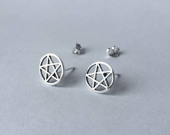 Pentagram star Stud Earrings - 925 Sterling Silver - Pentacle Stud Earrings - Wiccan Earrings - Wicca Earrings - Gothic Earrings - Witch