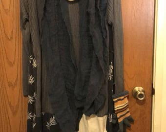 Resale, Eco friendly, Mori girl, Lagen look, Upscale, Silk and Rayon blend Dress, Boho, hippie style