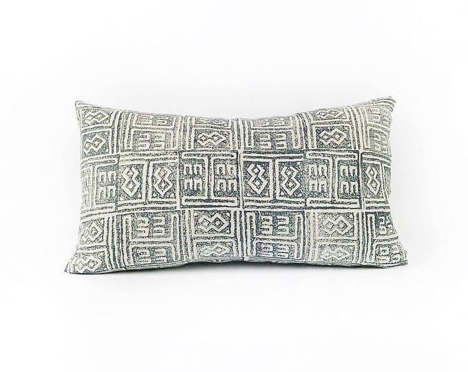 READY TO SHIP  Hand Block Printed Tribal African Linen Lumbar Pillow Cover 12x20
