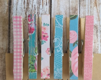 Cottage Style Decorative Clothespins/Memo Clips/Decorative Clips/Rustic Style Chip and Snack Clips/Floral Organizing Clips/Set of 6